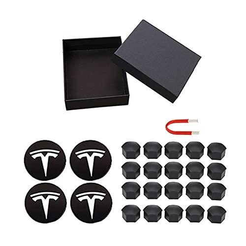 WCLOC Tapa del Cubo del Centro De La Rueda Adecuada para Tesla Model 3 S X, con Juego De 4 Tapas Centrales Y Kit De Cubierta De Tuercas De 20 Ruedas, Decoraciones Tesla 25 Piezas (Negro + Blanco)