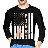 across SSTE4S American Flag Fight Uterine Cancer Men's Long-Sleeve T-Shirt Slim Fit Running Tees Camisetas y Tops(Medium)