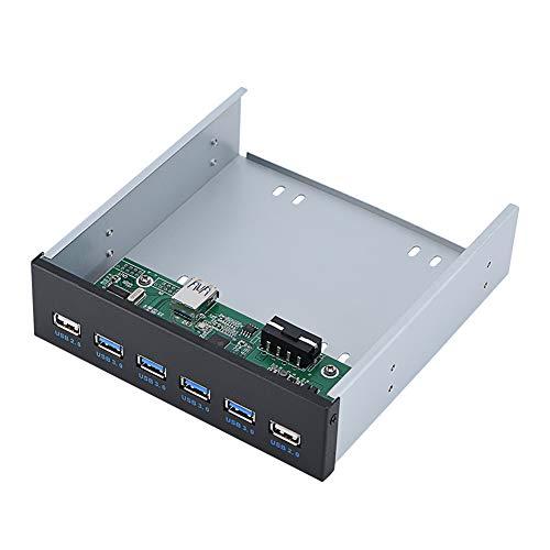 ASHATA USB 3.0 Pannello Anteriore, Pannello Anteriore Super Speed 4 Hub USB 3.0 + 2 USB 2.0 Hub, Hub USB Multifunzione USB 3.0 da Pannello Frontale da 5,25 Pollici con PC SATA per PC Computer
