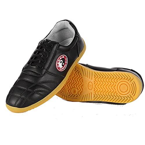 Hombres Mujeres Chinas Tradiciones Zapatos de Tai Chi , Unisex Zapatos de Kung Fu Artes Marciales Wing Chun, Negro Zapatillasde Entrenamiento Deporte para Boxeo, Karate(Size:45EU/14US,Color:black1)