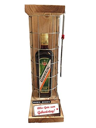 """""""Alles Gute zum Geburtstag"""" Eiserne Reserve mit einer Flasche Kümmerling Kräuterlikör 0,50L incl. Bügelsäge zum aufschneiden des Gitter -Die Geschenkidee"""