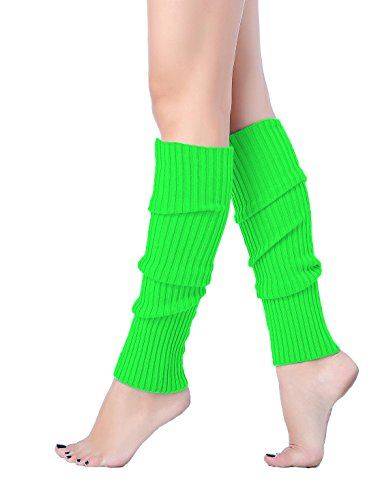 V28 Women Juniors 80s Eighty's Ribbed Leg Warmers for Party Sports (Green)