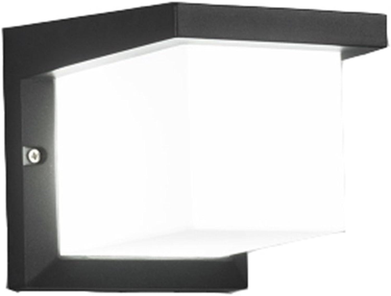 HZZ-Wandlampe Wandleuchte Gang Outdoor Balkon Wasserdichte Tür Garten Licht LED Super Helle Moderne Minimalistische Hotel Terrasse Licht Weies Licht (Farbe   schwarz, gre   19  16  16cm)