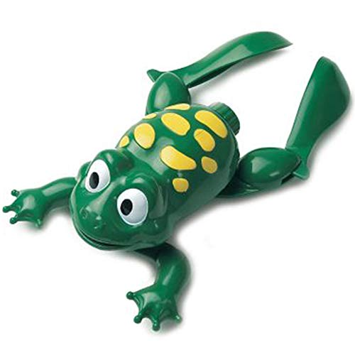 Liberty Imports Swimming Frog with Baby Plastic Electronic Battery Operated Cute Bath Toy for Kids Bathtime Fun (Green)