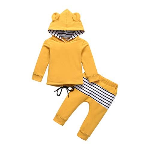 VENMO Kinderkleidung Kinder Baby Jungen Mädchen Mit Kapuze Ohren Kapuzenpullover Sweatshirt + Streifen Hosen Outfits Kleidung Babykleidung(6M-5Y)