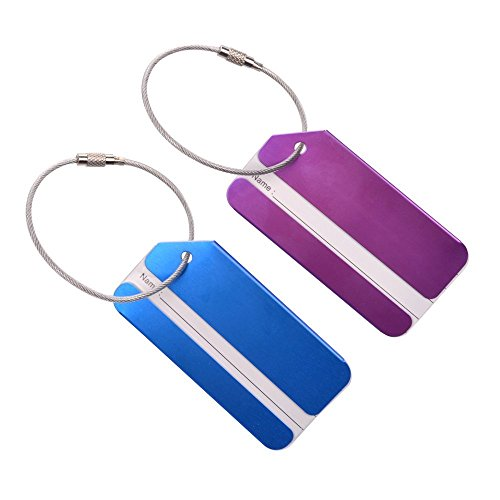 KLOUD City 2 pcs Metal Travel Accessories Square-Shape Luggage tag/Identifier with Name Card (Blue & Purple)