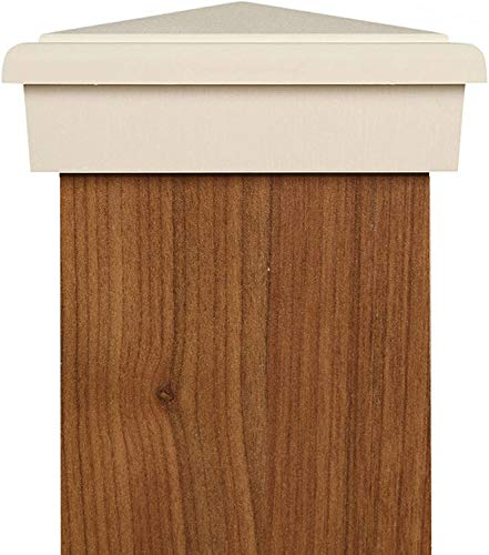 4x4 Post Cap (3.5') | White New England Pyramid Style Slim Profile Square Top for Outdoor Fences, Mailboxes and Decks