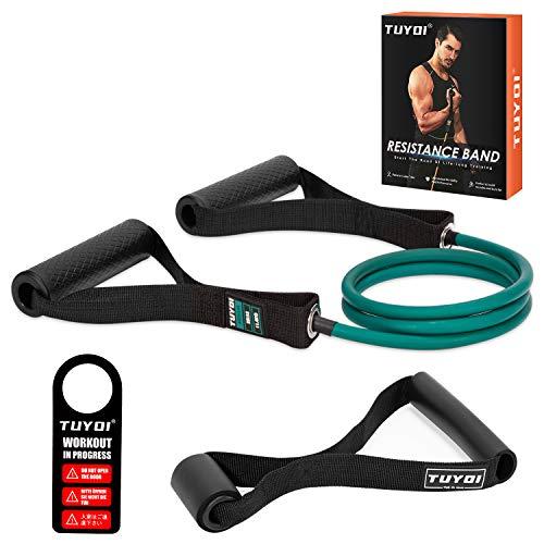 TUYOI Resistance Tube Fitnessbänder mit Griffen fitnessgeräte für zuhause(Grün-25LBS)