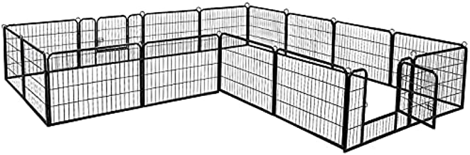 BestPet Dog Pen Extra Large Indoor Outdoor Dog Fence Playpen Heavy Duty 16/8 Panels 24 32 40 Inches Exercise Pen Dog Crate Cage Kennel (32