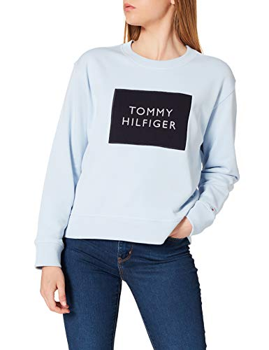 Tommy Hilfiger Relaxed T Box C-NK Sweatshirt LS Sudadera, Azul Breezy, XS para Mujer