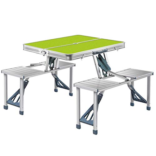 YFFSS Table Camping, Portable Table De Camping Pliante en Plein Air avec 4 Chaises Réglable Heavy Duty Banquet Pique-Nique Party Garden Table De Barbecue Pliable (Color : Green)