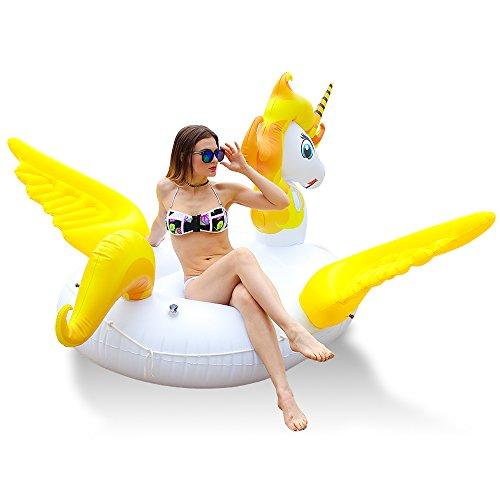 neuer fantastischer riesiger aufblasbarer Einhorn Schwimm Pool mit Flügel,Unicorn Pool-Party Schwimmtier Luftmatratze mit Kunststoffhalter,Einhorn Schwimmbad Floß Raft für Erwachsene Kinder