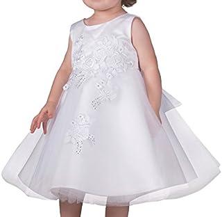 51fb1a2934635 Boutique-Magique Robe de baptême bébé Fille Blanche avec Tulle et Strass