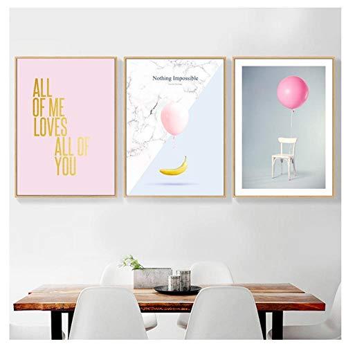 kaxiou ballon marmer gouden letter banaan stoel muur kunst canvas schilderij Scandinavische affiches en afdrukken muur foto's voor woonkamer Decor-40X60Cmx3 Stks geen frame