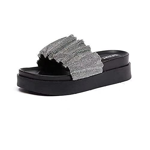 ypyrhh House Soft Flip Flop Zapatos para Interiores, Parte inferior gruesa acciones casuales, con sandalias de playa-black_39, Sandalias de ducha antideslizantes