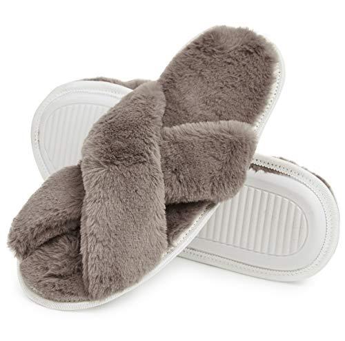 Zapatillas de Mujer en Memoria de Espuma Zapatos Mujeres en Peluche Rojo Crema Gris (36/38 EU, Capuchino)