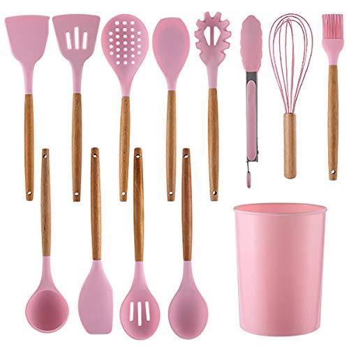 LIROUNT Juego de 12 utensilios de cocina, resistentes al calor, antiadherentes, mango de madera, utensilios de cocina de silicona, seguridad no tóxica (rosa)