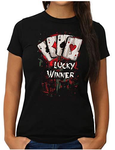 OM3® Lucky-Winner - T-Shirt - Damen - Las Vegas Poker Gambling - M, Schwarz