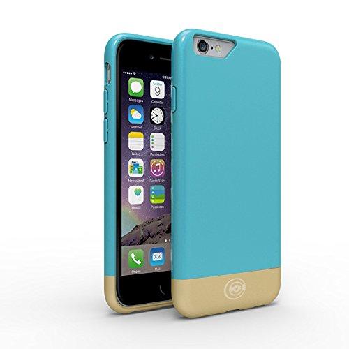 Funda para iPhone 6 [serie impecable] por Cable and Case Diseñador de carcasas para Apple iPhone 6, Aqua/Gold – iPhone 6 Case