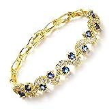 Bianlang Incrustado 3a Luo Código Zircon Pulsera, Pulsera de Damas de Oro Chapado en Cobre, Diamantes Azules y Blancos, Joyas ( Color : Golden Blue Diamond )