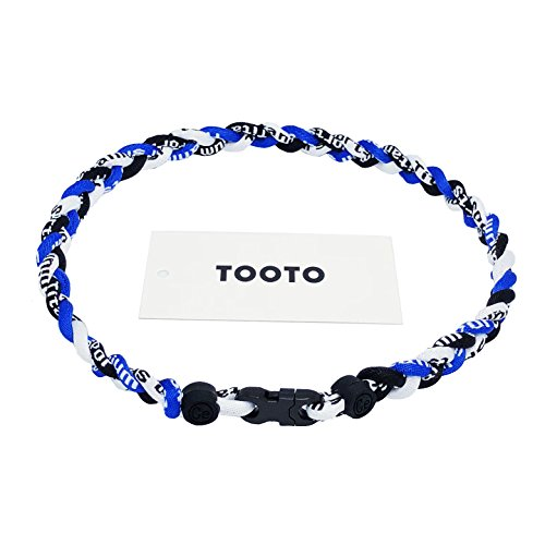 TOOTO Sport Style Tornado Titanium Necklaces Three Colors Braided Rope Baseball Necklace-20 Length (Blue & White & Black)
