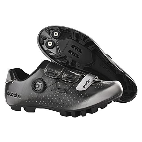 Zapatillas De Ciclismo De Montaña para Hombre Lightweight Camping Bike Sneakers Pomo Transpirable Hebilla Al Aire Libre,Gris,44 EU