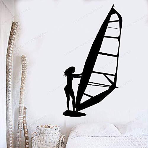 Pegatinas De Pared Calcomanía De Pared Windsurfista Chica Tiburón Surf Palm Sea Surfing Deportes Tabla De Surf 57X31Cm