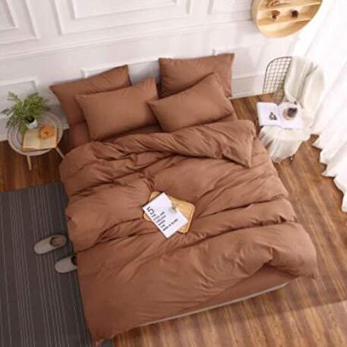 xuzheng Cama Familiar Conjuntos de Cuatro Piezas Color Puro algodón Completo 1.2 1.5 1.8m (Hojas + Cubierta de edredón + fundición de Almohada 2pc)