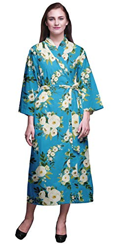 Bimba Azul Medio Floral Hojas y jazmín árabe Bata de algodón Mujer Dama de Honor Larga preparándose Vestidos de Camisa túnica Kimono Impresa algodón S