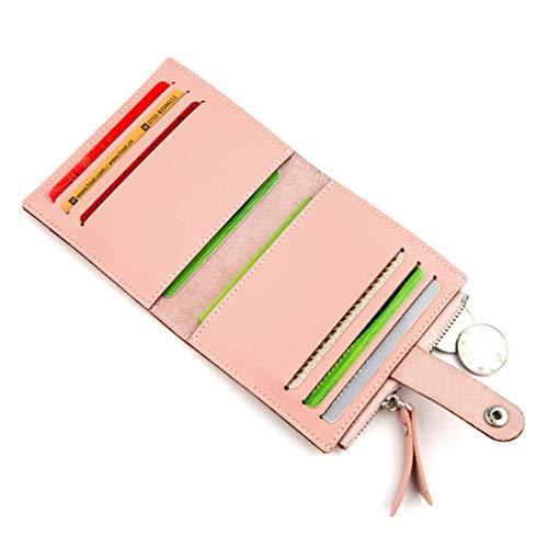 Schwenly - Cartera pequeña con cremallera para mujer, diseño de monedero, suave y compacto, Pink (Rosa) - Schwenly