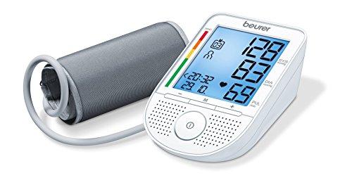 Beurer BM49 - Tensiómetro de brazo con voz, indicador OMS, memoria 2 x 60 mediciones, idioma sde ajuste en español, inglés, portugués y griego
