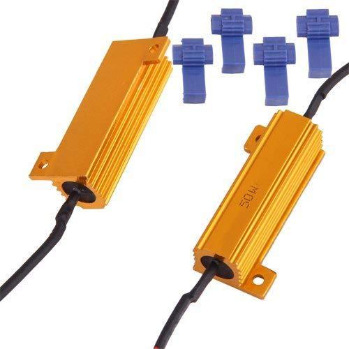 BLUETECH 2 x LASTWIDERSTAND 50 Watt 6 ohm + Kabelklemmen für LED SMD,Tagfahrlicht,Blinker,Hinterbeleuchtung