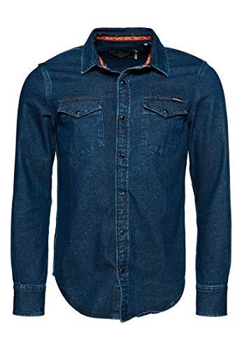 Superdry Resurrection L/s Shirt Camisa, Azul (Durango Mid Blue T6t), XS para Hombre