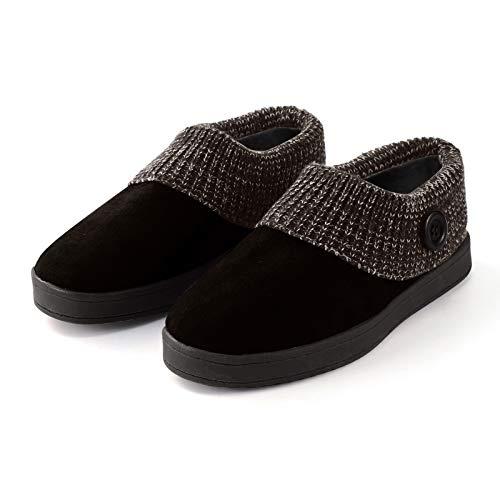 LULUZ Winter Hausschuhe Stricken Pantoffeln Wärme Home rutschfeste Slippers Cord Plüschähnliche Drinnen mit Gummi Sohle Fashion fur Damen