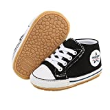 Baby Girls Boys Shoes, Infant Prewalker Shoes Toddler Slip On Anti-Skid Canvas Sneaker Soft Sole High-Top Ankle Baby First Walkers Crib Shoes Unisex Newborn Baby Shoes for 0-18 Months Black