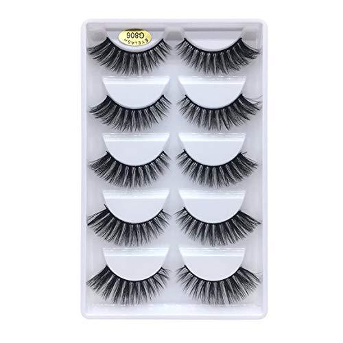 SeniorMar-UK 3d Mink Hair False Eyelashes G800 Natural Slimming Eyelashes Eyelash Curling Thick False Eyelashes 5 Pairs