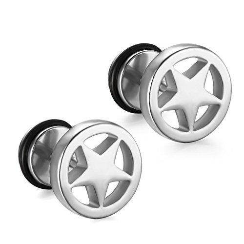 YAZILIND hombres oreja perno titanio acero punk estilo Ronda pentagrama estrella forma piercing pendientes joyas regalo (plata)