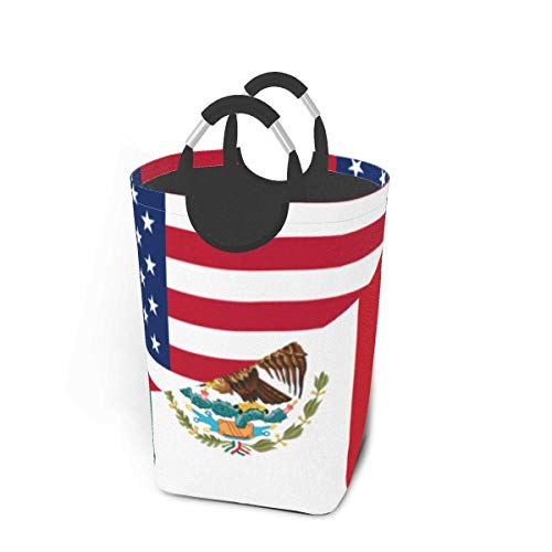 mallcentral-EU Cesto de la Ropa Bandera de México Americana Cesta de la Ropa Bolsa de Ropa Sucia Cubo Plegable Cubo de Lavado
