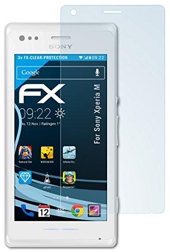 atFolix Schutzfolie kompatibel mit Sony Xperia M Folie, ultraklare FX Bildschirmschutzfolie (3X)
