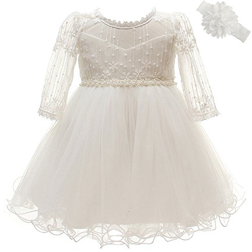 Coozy Baby Girls Dresses Christening Baptism Gowns Wedding Birthday Formal Dress (Ivory, 6M/6-12months)