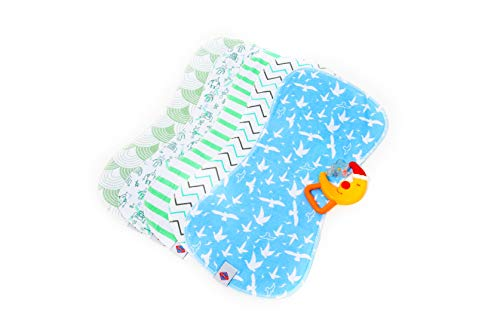 POPPALESBaby Burp Cloths 19quot x 9quot with Fun Colorful Patterns   Bonus Rattle Included   Highly Absorbent Cotton Top with Soft Thick Fleece Back   Prevents Messes   Perfect Baby B Shower Gift  5 pack