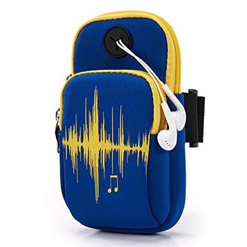 Gxklmg Sport-Armband Gym-Telefon-Halter für Arm Nachtlaufsport Fitness Gymnastikraum Workout Arm Tasche für 5,5 bis 6,1 Zoll Handys,Deep Blue