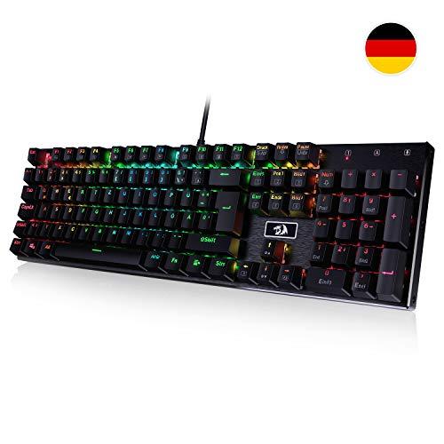 Redragon K556-DE Mechanische Gaming Tastatur RGB Hintergrundbeleuchtung, Braune Schalter mit 105-Tasten, Voll Programmierbare Gaming Tastatur, Metall Platte, 100% Anti-Ghosting, (Deutsche Layout)