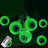 Halloween Decorations String Lights, 30 LED Waterproof Cute Eyeball LED Holiday Lights for Outdoor Decor, 8 Modes Steady/Flickering Lights (Green)