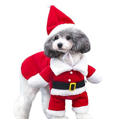 YueLove Mascota Perro Gato Disfraz de Santa Claus Cosplay Disfraz de Papá Noel de Pet, Disfraz de Navidad para Mascotas,Lindo Santa Claus Ropa de Fiesta Divertido Disfraz para Fiestas de Mascotas