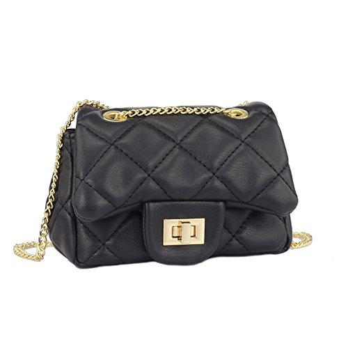 CMK Trendy Kids Toddler Kids Quilted Glitter Crossbody Handbags Purse Gifts for Girls (Lambskin black), Mini