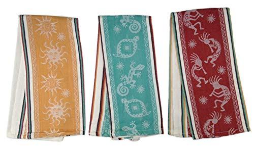 Simply Southwest Decor, Petroglyph Designed Kitchen Towel Set, Yellow Hopi Sun, Teal Geckos & Turtles & Red Kokopelli Towel