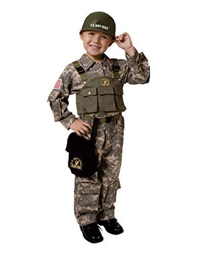 Dress Up America- Ensemble de Costumes des Forces spéciales de l'armée avec Casque de Sceau de Marine, Army, Multi, X-Grande (Taille: 122-132, Hauteur: 173-193 cm, intérieur: 84 cm)