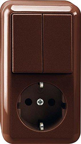 Merten MEG3498-8717 | Schuko Steckdose/Serienschalter Kombination(Aufputz) | 2 Schaltkreise + 1 Steckdose | IP20 - Braun | Made in Germany