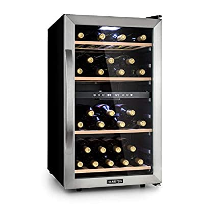 Klarstein Vinamour 45D Wine Cooler - 2 Cooling Zones, Volume: 118 litres / 45 Bottles, Cooling Temperature: 5-18 ° C, Energy Efficiency Class A, 40 dB, LED Interior Lighting, Colour: Black